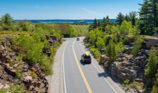 Cars on road near Bar Harbor